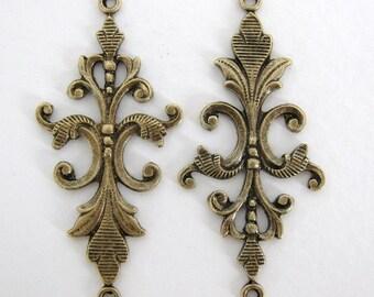 Long Antiqued Brass Connector Fleur De Lis Link Vintage Style 40mm cnn0013 (2)