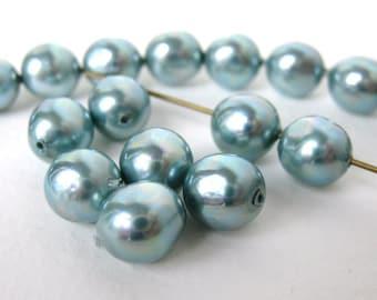 Vintage Bead Faux Pearl Aqua Baroque Japan 8mm vgp0279 (18)