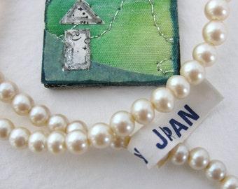Vintage Japanese Beads Glass Pearls Ivory Cream Original Strand 6mm to 3mm vgp0267 (65)