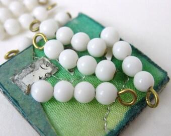 Vintage White Glass Bead Drops Charms Wire Loop 15mm vgb0472 (8)