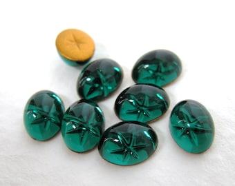 Vintage Glass Cabochon Emerald Star Swarovski Crystal Intaglio Reverse 8x6mm swa0247 (8)