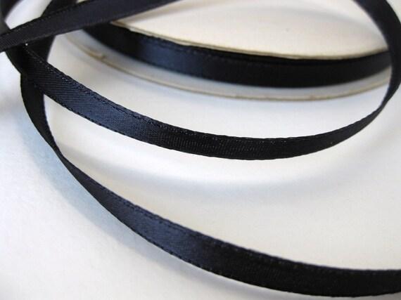 Vintage Trim. Satin Ribbon, Dark Navy Blue, 1/4 inch, 1940's rib0046 (2 yards)