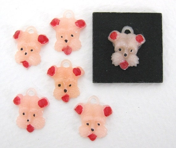 Vintage Plastic Charm. Pink Puppy Dog Handpainted Japanese Cabochon, 15mm pcb0111 (6)