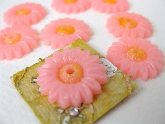 Vintage Cabochon Flower Pink Daisy Plastic Painted Japan 15mm pcb0104 (8)