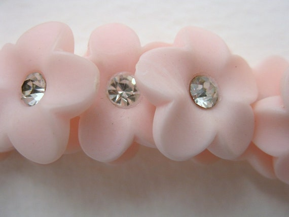 Vintage Rhinestone Buttons, Pink Flowers With Matte Finish, Shank, Austria 1950s, but0083 (6)