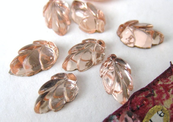 Vintage Glass Cabochon Pink Rosaline Leaves Flower Foiled 10x6mm gcb0302 (8)