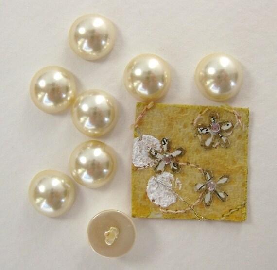 Vintage Cabochons Ivory Cultura Pearl Plastic Japan 10mm pcb0027 (8)