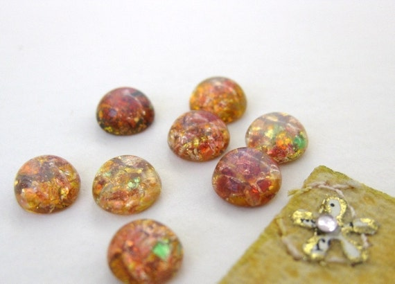 Vintage Glass Cabochon. Fire Opal Harlequin Czech, 7mm gcb0235 (8)