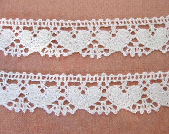 Vintage Lace Hearts Off White Cotton Cluny Trim 5/8 inch, rib0075 (2 yards)
