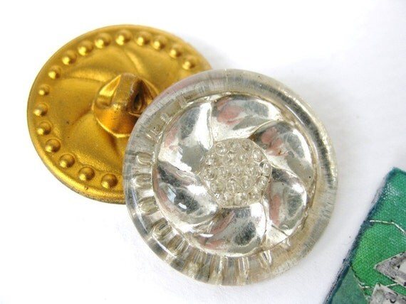 Vintage Buttons Glass Flower Art Deco Mirror Shanks Germany 1940s but0145pc2 (2)