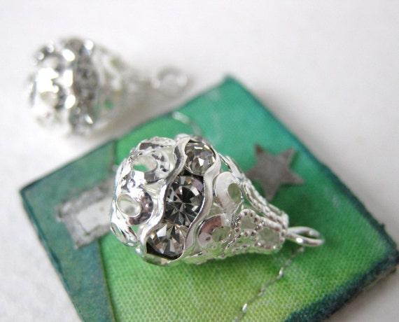Vintage Swarovski Rhinestone Bead Ball Drop Crystal Silver Filigree vfd0167 (1)