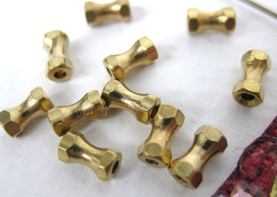 Vintage Beads Brass Spacers Tubes Gold 6mm vfd0163 (12)