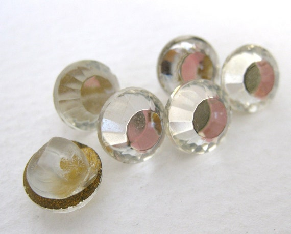 Vintage Rhinestone Buttons Crystal Glass Jewel Mirror but0153 (6)
