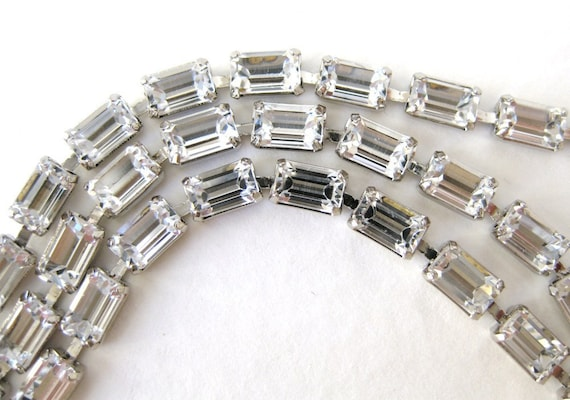Vintage Rhinestone Chain Swarovski Crystal Baguette Prong Setting Silver 5x3mm chn0083 (7 inches)