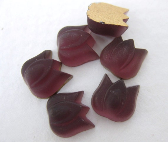 Vintage Flower Cabochons Glass Amethyst Matte Tulips 9mm gcb0515 (6)