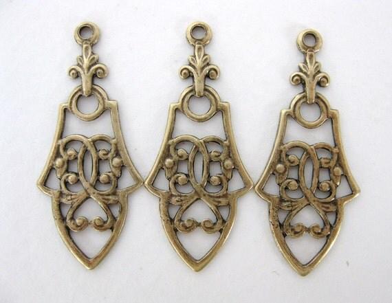Antiqued Brass Pendant Charm Drop Connector Deco Flourish 35mm drp0005 (4)
