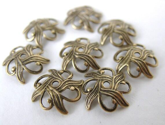 Antiqued Brass Filigree Nouveau Flower Bead Cap Brass Ox Vintage Style 10mm bcp0008 (8)