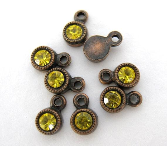 Vintage Bead Drop Swarovski Rhinestone Crystal Charm Citrine swa0231 (6)