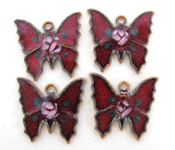 Vintage Butterfly Charm Red Enamel Pink Roses Metal Drop 14mm chm0035 (6)