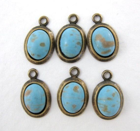 Vintage Bead Drop Turquoise Matrix Cabochon Charm Antiqued Brass Setting chm0033 (6)