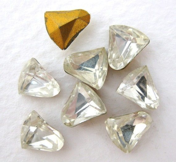 Vintage Rhinestone Bells Crystal Glass Jewels Czech 8mm rhs0273 (8)