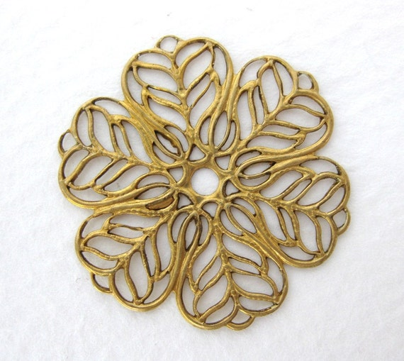 Brass Flower Filigree Vintage Haskell Russian Gold Plate Finding 28mm flg0011 (1)