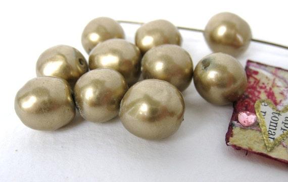 Vintage Bead Glass Pearls Bronze Gold Baroque Japan 10mm vgp0052 (8)