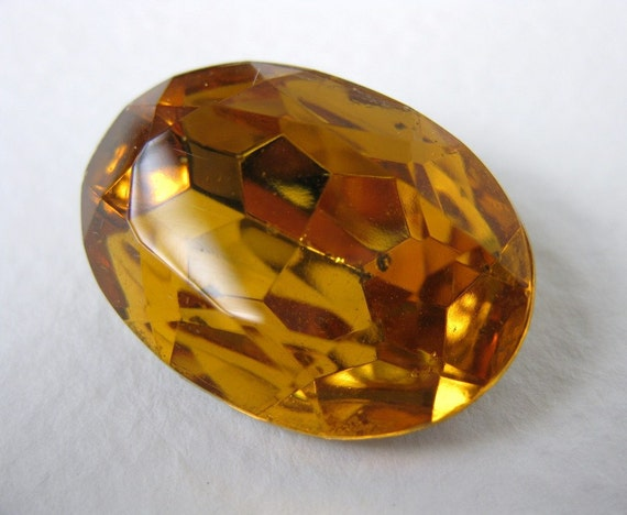 Vintage Glass Rhinestone Topaz Oval Faceted Foiled Jewel 25x18mm rhs0278 (1)