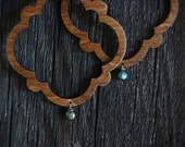 Wood Marrakech Hoops with Single Blue Freshwater Pearl