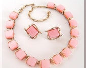 Vintage Coro Moonray pink Necklace and Earrings 1950s Free US shipping