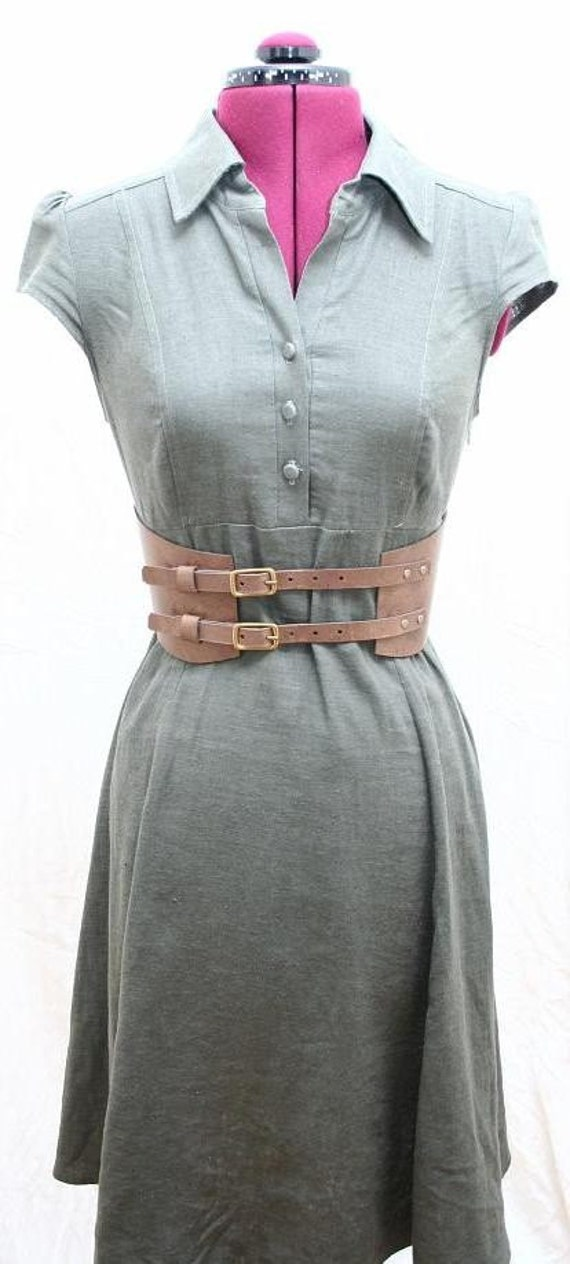 Twin Buckle Lace Belt Chocolate Brown