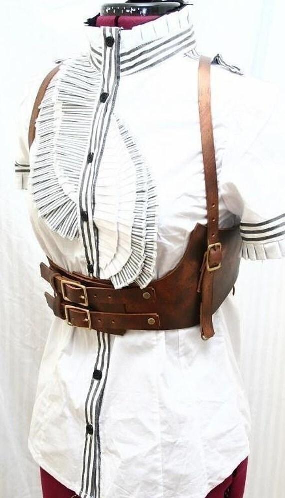 Genevieve Bronze Leather Harness Belt Steampunk Victorian Edwardian Airship Mistress Limited Edition