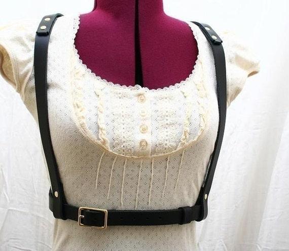 Jane Doe Black Glam Leather Harness Fashion Burning Man Steampunk Belly Dance