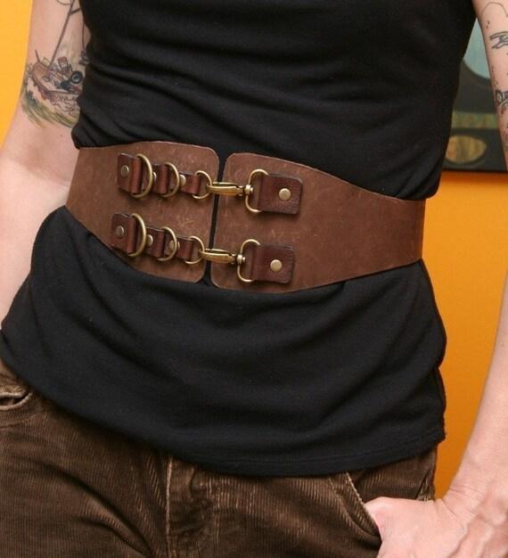 Madam Joannie Brown Leather Clip Belt burning man style