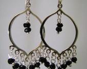 Faceted Black Spinel Rondelles on Sterling Silver