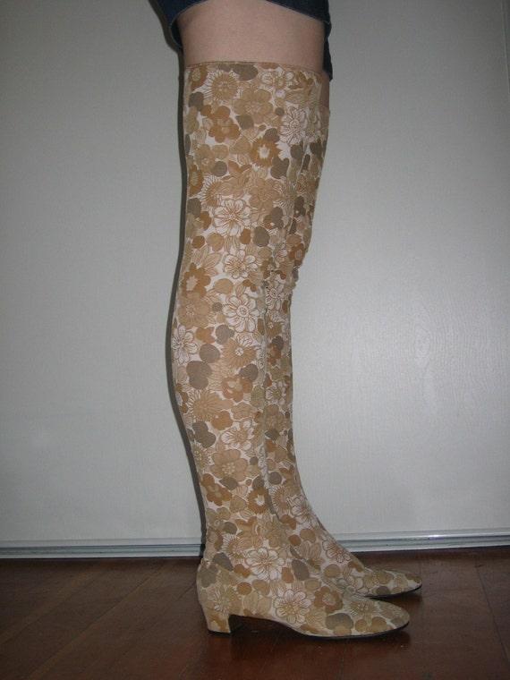 vintage 1960s thigh high flower power mod go go boots 7 b