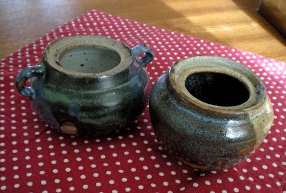 Two Rustic Stoneware Planters