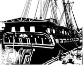 USS Constitution black and white photographic art print