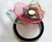 Organza  Flower Ponytail Holder