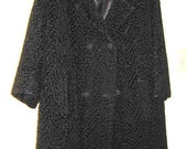 Vintage black jacket women1960s heavy weight  coat size med