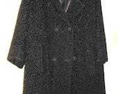 Vintage black jacket women1960s heavy weight  coat size med