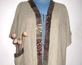 Jacket  art wear cafe colored linen, Plus size