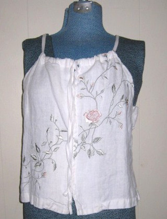 Cami linen womens embroidered recycled