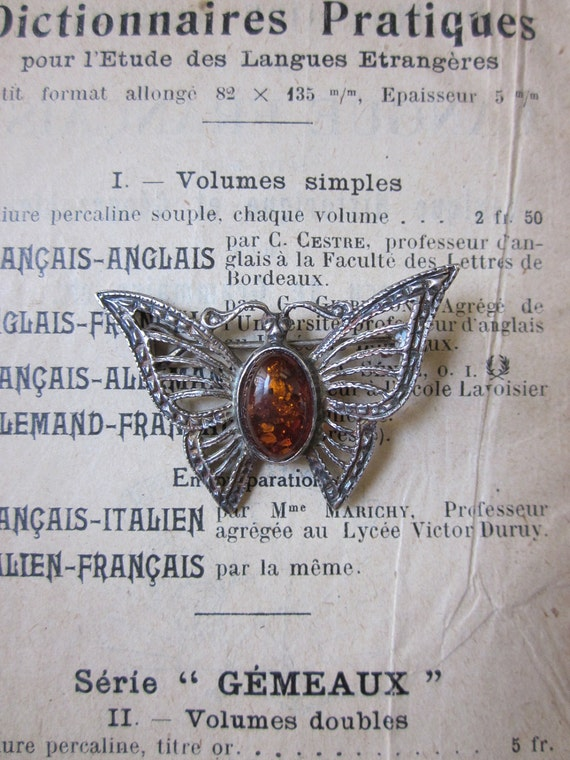 Ornate Sterling Silver and Amber Butterfly pin