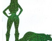 Border Collie and Cowgirl Pin Up Silhouette, Green Glitter Vinyl Decal