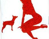 Miniature Pinscher and Pin Up Silhouette, Red Glitter Vinyl Decal