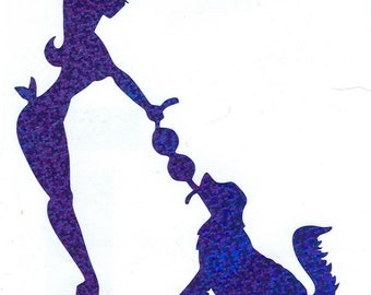 Golden Retriever and Pin Up Silhouette, Blue Glitter Vinyl Decal