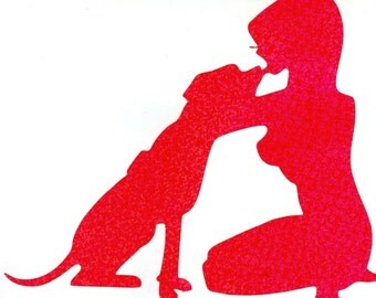 Daisy the Pitbull and Pin Up Silhouette, Pink Glitter Vinyl Decal