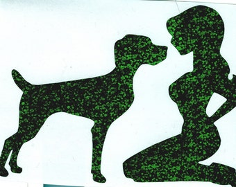 DISCONTINUATION SALE: Weimaraner and Pin Up Silhouette, Green Glitter Vinyl Decal