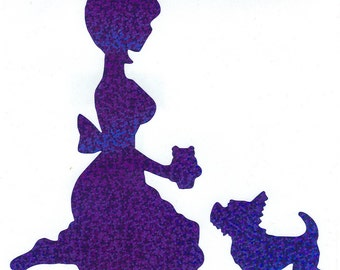 Westie and Pin Up Silhouette, Blue Glitter Vinyl Decal